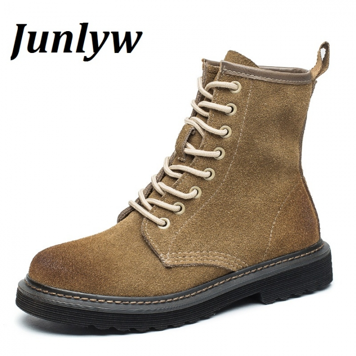 Junlyw New Arrival  Genuine leather  Boots Women  Ankle Boots  Martin Boots Retro Vintage Botas Khaki 39
