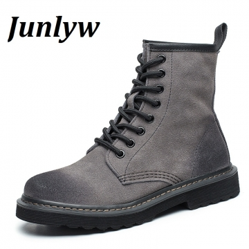 Junlyw New Arrival  Genuine leather  Boots Women  Ankle Boots  Martin Boots Retro Vintage Botas grey 35