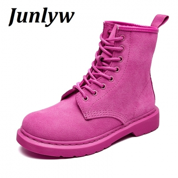 Junlyw women boots Cow Genuine Leather women's Combat Hunting Military Boots Suede Stitching Pink 39