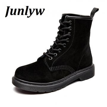 Junlyw women boots Cow Genuine Leather women's Combat Hunting Military Boots Suede Stitching black 36
