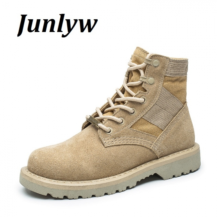 Junlyw men boots Cow Genuine Leather Tactical men's Combat Hunting Military Boots Suede Stitching cream-colored 41