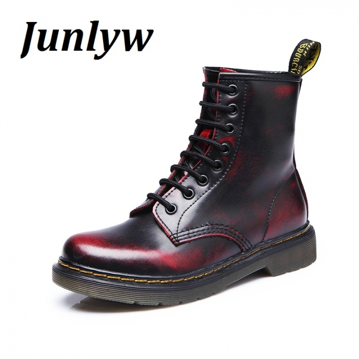 Junlyw Fashion Ankle Boots Women's Motorcycle Martin Boots Women Oxfords Women Shoes red 40