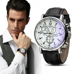 Yazole Men watch Watches Quartz Clock Fashion Leather belts Watch Cheap Sports wristwatch white+black one size