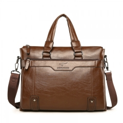 High Quality Leather  Men's Briefcase Leather Laptop Bag business Male men  Tote crossbody Bags Khaki One size