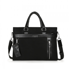 Men's Oxford Fabric Bag Briefcase  Business  Men Messenger Bag Casual Handbags Shoulder Bags Transverse-Black one size