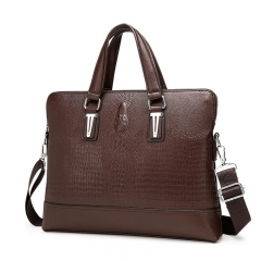 Men Bag Men Briefcase Crocodile Pattern Shoulder Crossbody Bags Leather Laptop Bag   Tote Bag vertical-brown one size