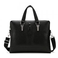 Men Bag Men Briefcase Crocodile Pattern Shoulder Crossbody Bags Leather Laptop Bag   Tote Bag transverse-black one size