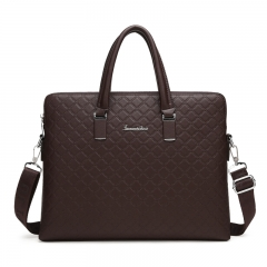 Men High Quanlity PU Leather Business Briefcase  Men Laptop  Bag  Men's Shoulder Crossbody Bag Dark Brown one size