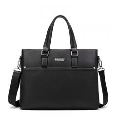 Men's Business Bag PU Leather Fashion Men Briefcase High Quality Shoulder Top-handle Bag black one size