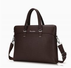 Men PU Leather Briefcase Men'S Briefcase Men Laptop Tote Bag Fashion Shoulder Bag Coffee one size