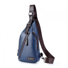 Men high quanlity Pu Leather Mens Chest Bags Fashion Travel Crossbody Bag Man Messenger Bag Blue One Size