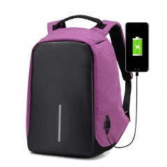 Multifunction USB Charge Anti Theft Backpack Men Travel  Waterproof School Bags   Laptop Backpack Purple one size
