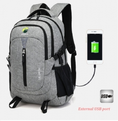 Multifunction USB charging Men Laptop Backpacks For  Fashion  Leisure Travel backpack anti thief grey one size
