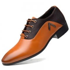 Men Dress Shoes Quality Men Formal Shoes Lace-up Men Business  Shoes  Men Wedding Pointy Shoes Orange 39