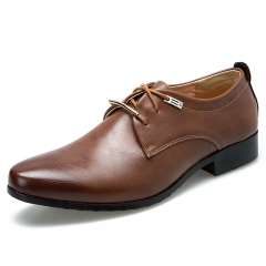 Fashion PU Leather Men Dress Shoes Pointed Toe Shoes For Men, Lace Up Designer Luxury Men Shoes brown 39