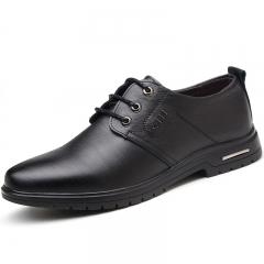 Men Genuine COW Leather Shoes Men's Flats Formal Shoes Classic Business Shoes black 39