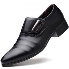 Men pu Leather Shoes Men's Flats Formal Shoes Classic Business Dress Shoes black 39