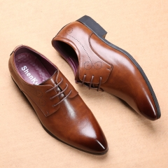 New Fashion Men's shoes Men pu Leather Shoes Men's Flats Formal Shoes Classic Business Dress Shoes brown 38