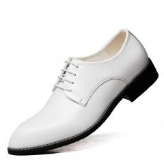 Fashion Men Shoes PU Leather Men Dress Shoes Men's Business Casual Classic Gentleman Shoes White 38