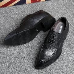 Fashion PU Leather Men Dress Shoes Pointed Toe  Shoes For Men  Lace Up Designer Luxury Men Shoes black 38