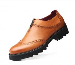 Fashion PU Leather Men Dress Shoes Pointed Toe Bullock Oxfords Shoes Designer Luxury Men Shoes brown 39