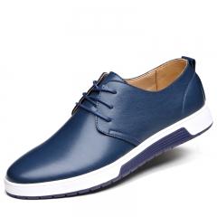 Men Casual Shoes Microfiber Leather Fashion Trendy  Flat Shoes Breathable Shoes  Business Men blue 38
