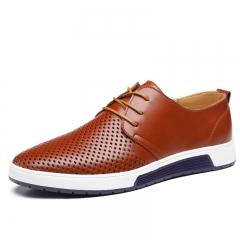 Fashion Men's Shoes Mircofiber Leather Holes Design Breathable Shoes Spring Autumn Business shoes brown 38 MICROFIBER