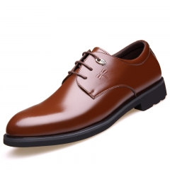 Men Fashion  Genuine Leather Shoes Men Dress Shoes Men's Business Casual Classic Gentleman Shoes brown 38 genuine leather