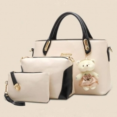 Roci 3 in 1 Handbag Women Bear Handbag Fashion Trendy Handbags White As Picture
