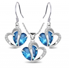 Women Trendy Jewellery Crystal Necklace and Earrings 2 in 1 Set Christmas Lover Gifts Blue As Pictures