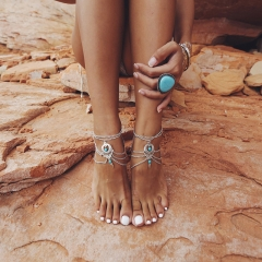 Bohemia Punk Foot Jewelry Chain Barefoot Sandals Beach Vintage Foot Bracelet For Women As Picture As Pictures