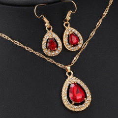 2016 Women's Red Crystal Necklace Plus Earrings Fashion Jewellery 2 in 1 Set Red As Pictures