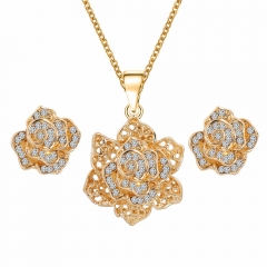 2016 Women Hot Sale Trendy Rose Necklace Plus Earrings Fashion Jewellery 2 in 1 Set As Picture As Pictures
