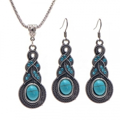 2016 Hot Sale Women Vintage Necklace Plus Earrings Fashion Jewelry 2 in 1 Set As Picture As Pictures