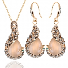 2016 Hot Sale Women Trendy Mysterious Peacock Necklace Plus Earrings Fashion Jewellery 2 in 1 Set As Picture As Pictures