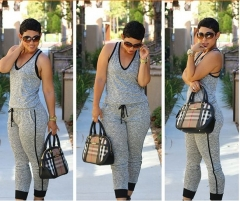 2017 fashion new sports suit Slim piece pants gray XL