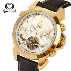Gucamel Skeleton Tourbillion Mechaniccal Watches Luxury Business Mens Mechanical Watch white gold leather