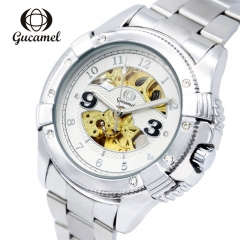 Gucamel Men Watch Mechanical Watch Stainless Steel Automatic Stylish Classic Skeleton Wrist Watches white gold steel