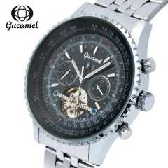 Gucamel  Watches steel Hollow Automatic Mechanical Watch Men Skeleton Watches 30M Waterproof white gold steel