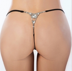 Plus Size XXL XXXL Women Panties Lingerie Gift Sexy Thong Hollow Out Diamond Chain G-string Black M