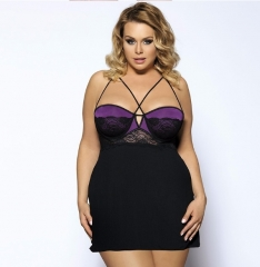 Top Sale Women Nightwear 2016 Erotic Baby Doll Lace Plus Size Strappy Purple Babydoll Lingerie Purple 3XL