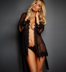 sexy see-through mesh with lacework sexy lingerie hot seductive Sheer Robe With Panty Underwear Black 3XL