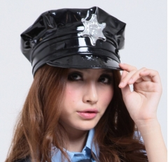 Sexy Black Girl/Lady's Police Uniform PU Leather Latex Cosplay Sex Hats Caps H1706 Black One size
