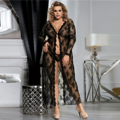 Sexy Plus Size See-through Perspective Mesh Lace Longgerie Bl Seductive Sheer Robe Night Gown R80232 black m