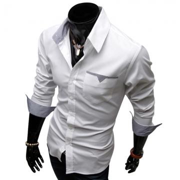 Stylish Turn Down Collar Long Sleeve Printed Spliced Button Design Men's Shirt WHITE M