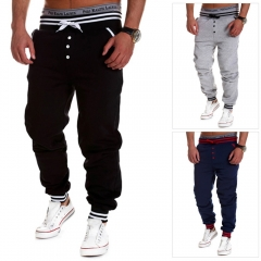 Casual Male Elastic Drawsting Button Design Loose Sports Pants gray xl