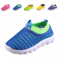 Boys Girls Slip-On Water Shoes Breathable Mesh Running Sneakers blue 27