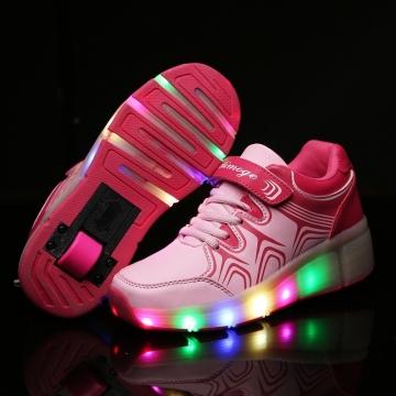 Child LED Light up heely's wheelys Roller Skate Shoes For Girls Children Kids Boy Led Sneakers Pink 32