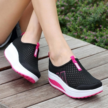 2016 Fashion Floral Print Shoes Women Swing Wedge Casual Shoes 5 Cm Platform Shoes Black 39