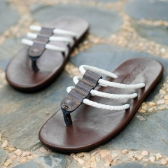 2016 summer flip-flops men slippers rubber non-slip feet fashionable leisure beach sandals Brown 42